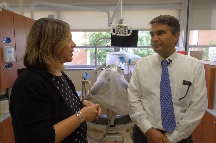 This is a photo from a Campus Walk with UK College of Dentistry Dean Stephanos Kyrkanides.