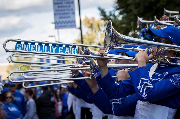 """photo of """"Snell Yeah"""" tiles on Schulz's trombone during Cat Walk"""