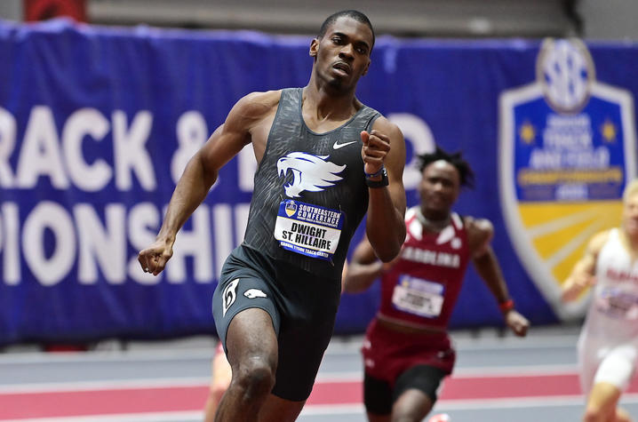 photo of Dwight St. Hillaire competing in SEC track and field event