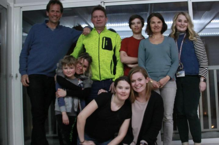 photo of Cassidy Breeding and Emily Lucchese with Sweden host families