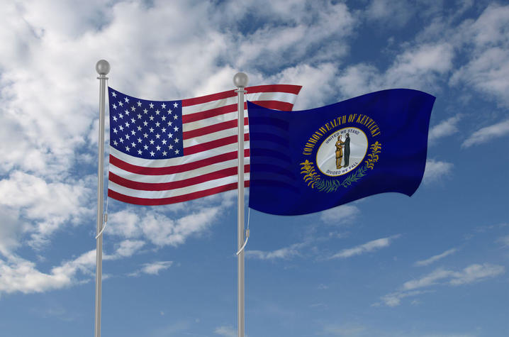 photo of Kentucky flag and American flag
