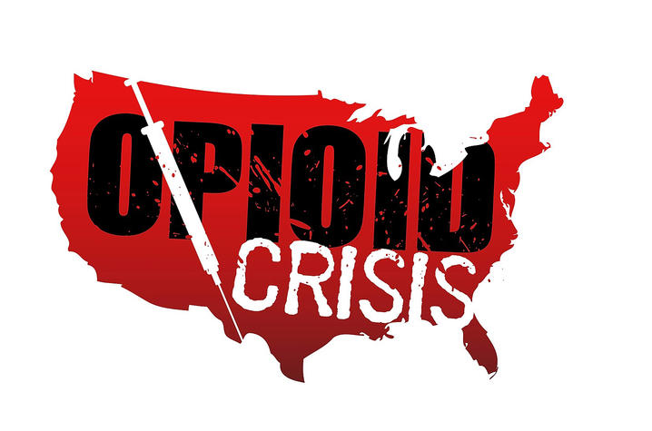 """graphic of US map with """"Opioid Crisis"""" written on it"""