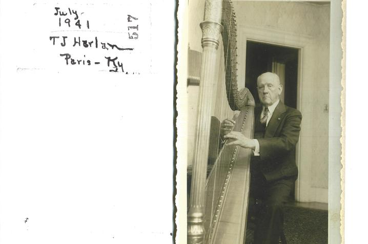 photo of Thomas J. Harlan with Lyon & Healy pedal harp, 1941
