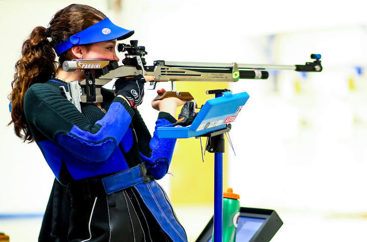 photo of Mary Tucker competing for UK Rifle agains Murray and Morehead