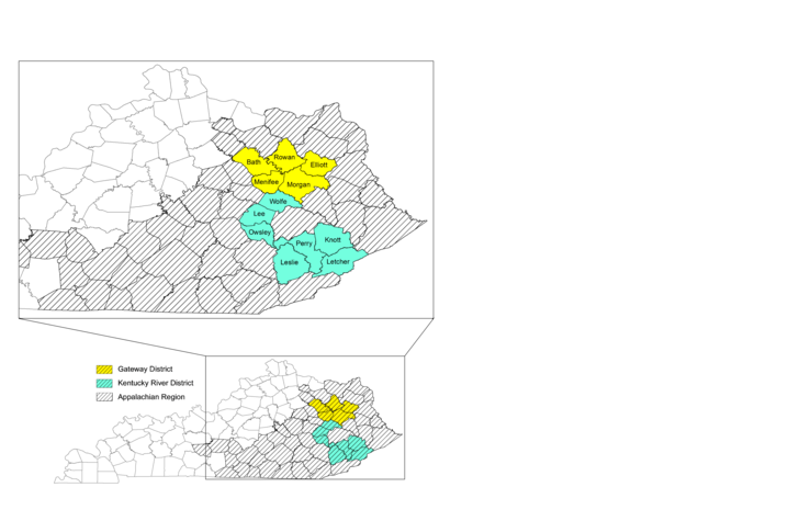 Map with color coding to identify 12 counties in Kentucky which will be the site for the research project.