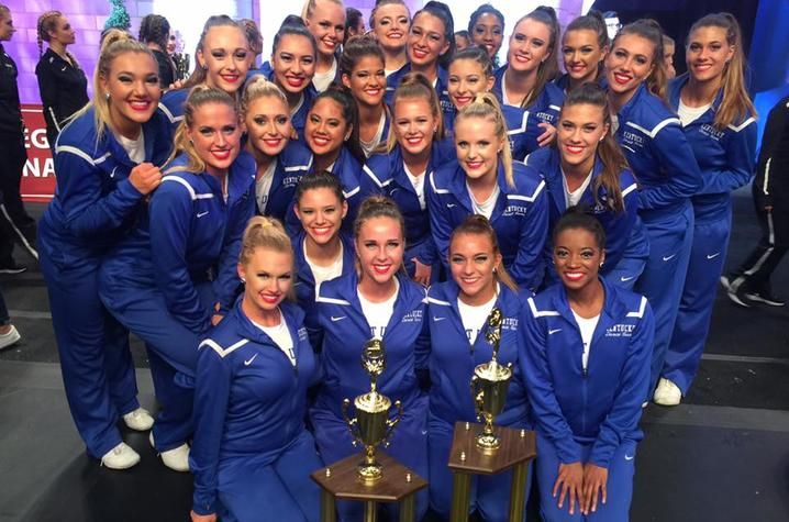 photo of UK Dance Team with awards at 2017 UDA competition