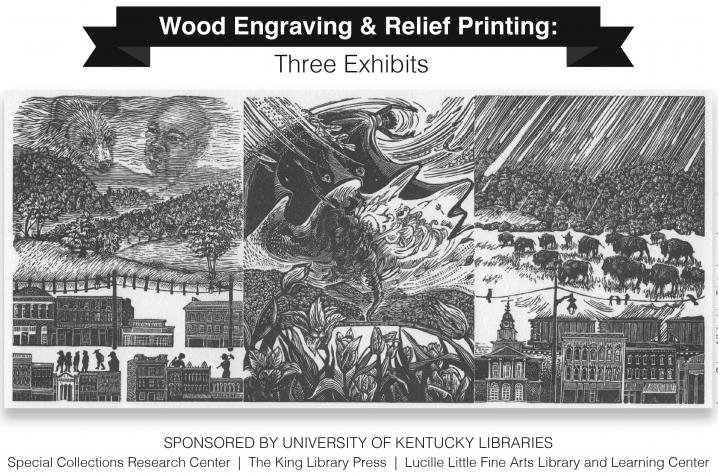 """wood engraving exhibits postcard with Joanne Price's """"Affrilachian Triptych"""""""