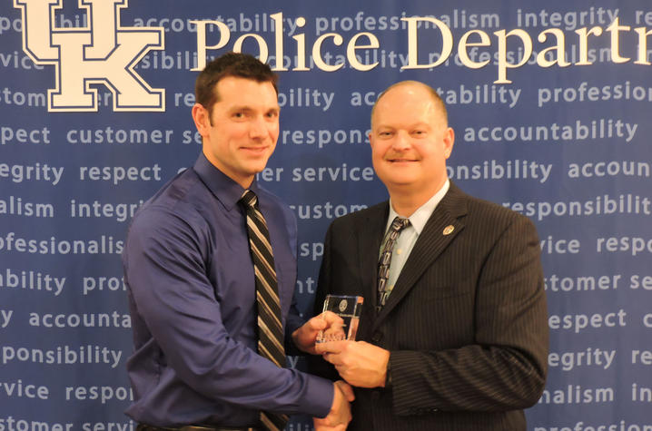 photo of UK Police Officer of the Year John Stanko with Chief Joe Monroe