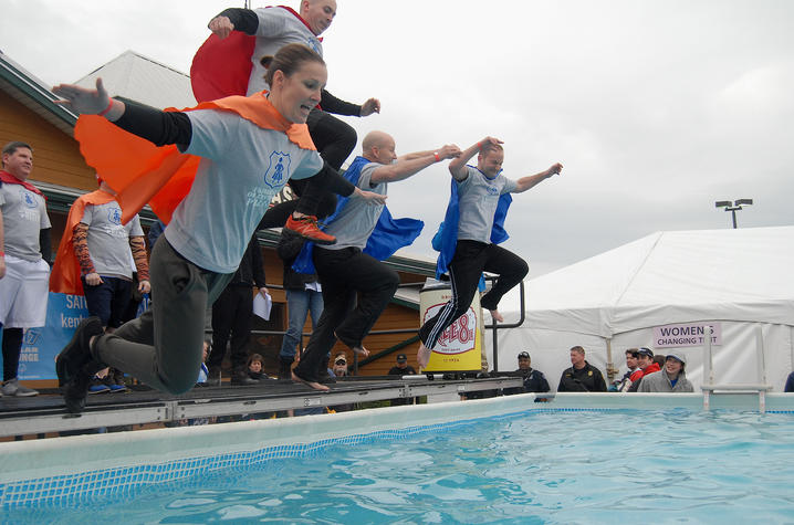 photo of UKPD officers polar plunging