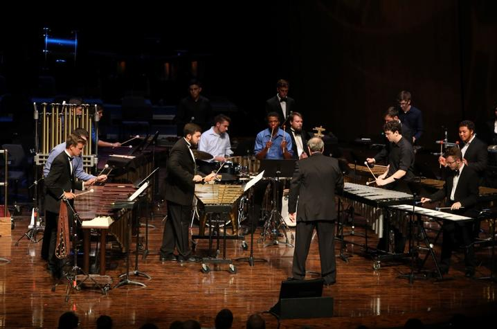 photo of UK Percussion Ensemble performing in UK Parade of Music