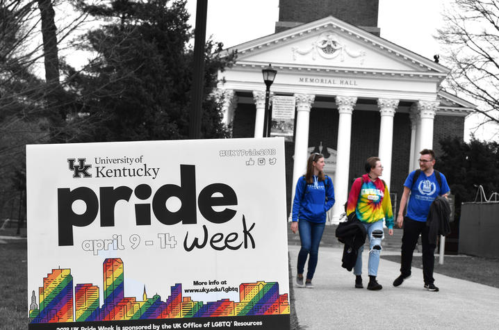 photo of UK Pride Week sign in front of Memorial Hall