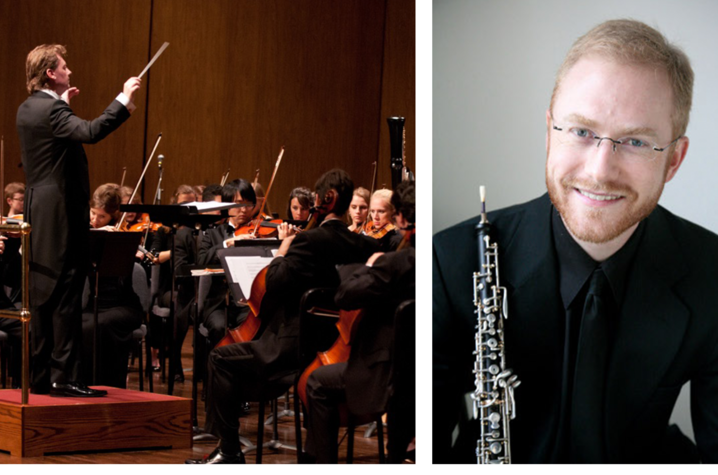 photos of UK Symphony Orchestra and oboist Dwight Parry