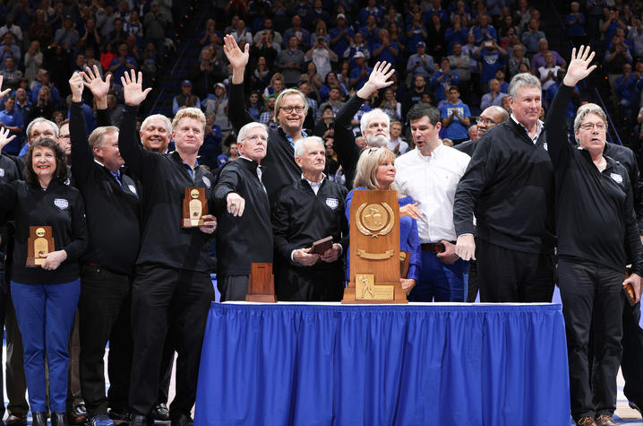 photo of UK's 1977-78 men's basketball team recognized at Rupp for 40th anniversary