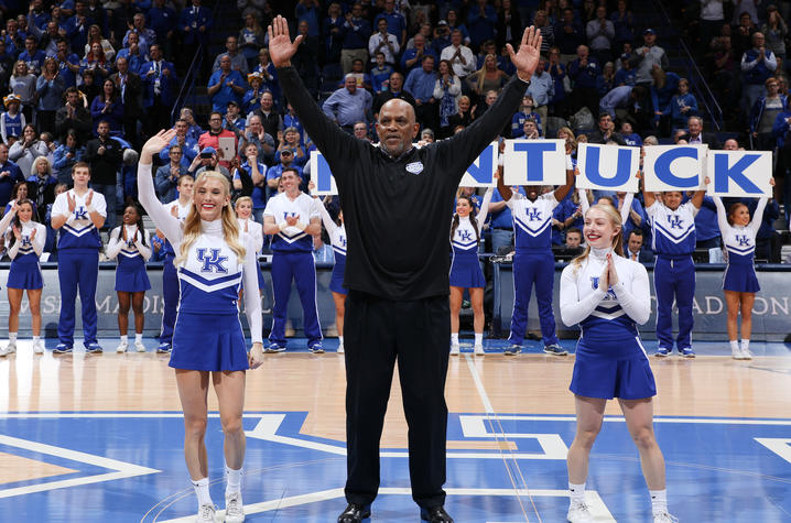 "photo of James Lee doing ""Y"" at UK/Mizzou Feb. 24 game - 40th anniversary of 78 team"
