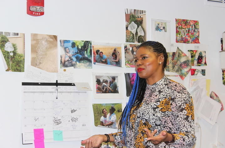 photo of Ebony G Patterson in her studio