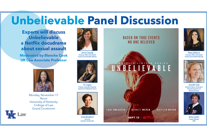 "Panel flyer featuring panelists headshots, names and titles as well as the Netflix poster for ""Unbelievable/"""