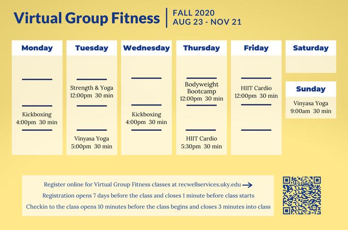 UK Virtual Fitness Schedule Fall 2020