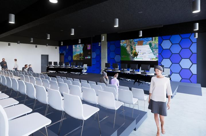 Rendering of gaming theater at Winslow facility