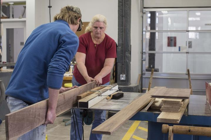 photo of students in Fine Arts Institute woodworking course