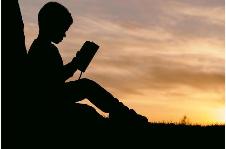 A young boy sits beneath a tree with book in hand