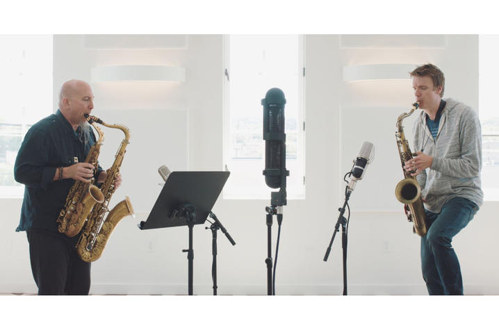 photo of Jeff Coffin and Derek Brown recording