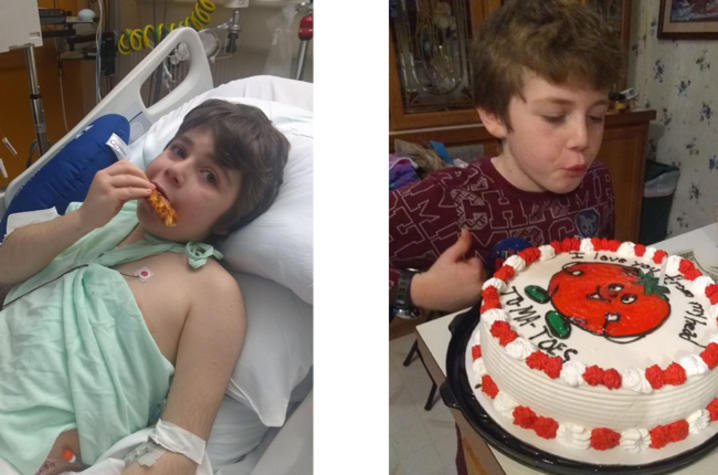 photo on left, Chance eating pizza. Photo on right, Chance with a cake
