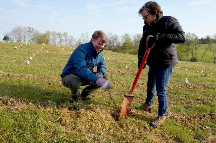 photo of Rob Samuels and Dean Nancy Cox planting white oak