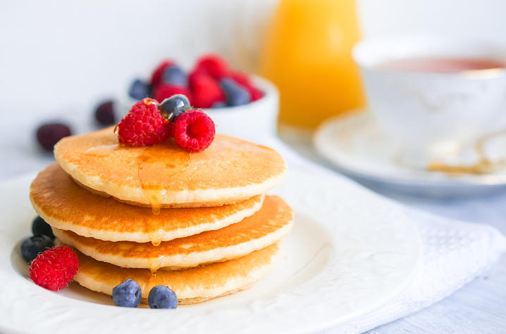 Stack of pancakes with fruit