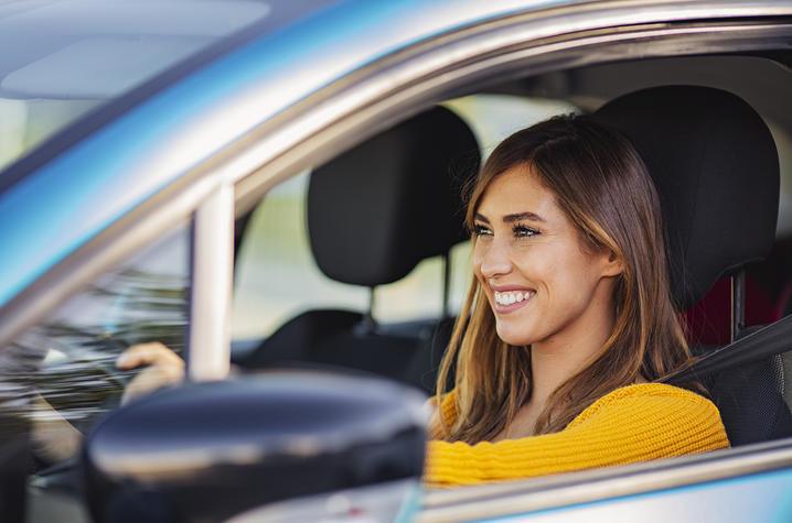 Woman driving.