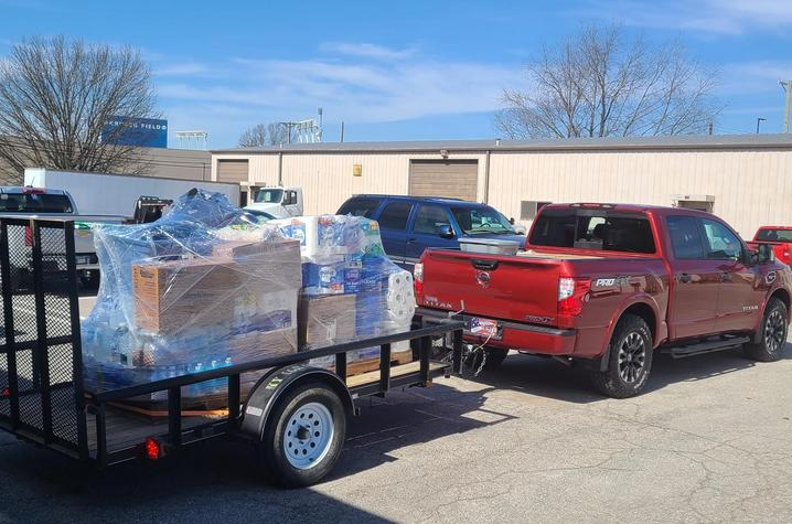 A truck full of donated supplies for Eastern Kentucky flood victims leaves UK's Agriculture Distribution Center for the Wolfe County Extension office on March 5.