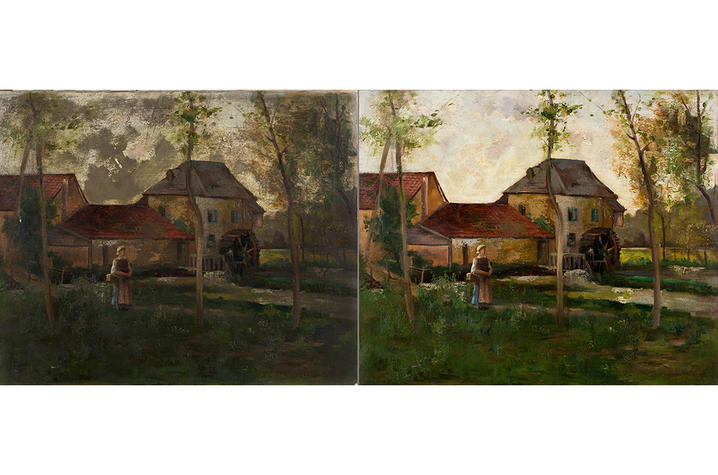 """photos of Maud Spiller Holt's """"Village Scene"""" before and after conservation"""