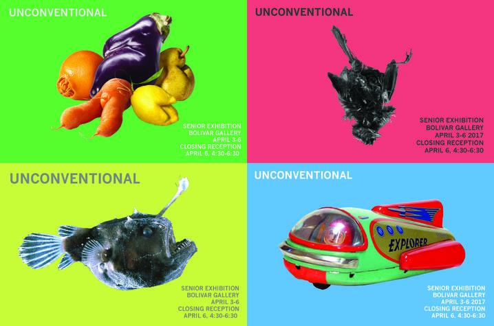 "photo of ""Unconventional"" exhibit postcard"