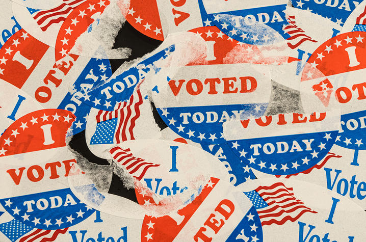 """I voted"" sticker collage"
