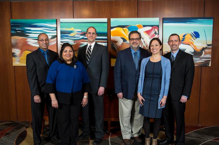 The 2017 Great Teachers (L-R) Sherali Zeadally, Gitanjali Pinto-Sinai, Nathan Vanderford, Richard Andreatta, Michelle Sizemore, Jeff Reese