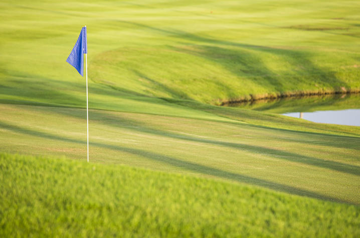 Blue golf flag on golf course