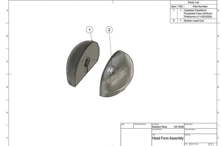 The students' headform design as of Dec. 1. The headform will fit into a helmet to test the helmet's crush resistance.