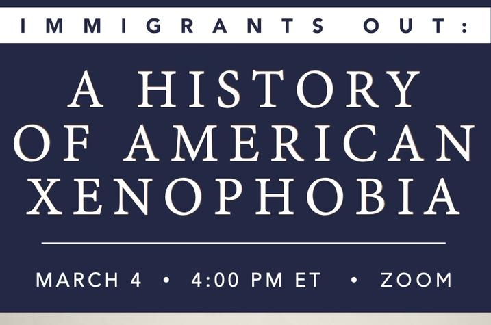"""photo of """"Immigrants Out"""" poster for Erika Lee lecture"""