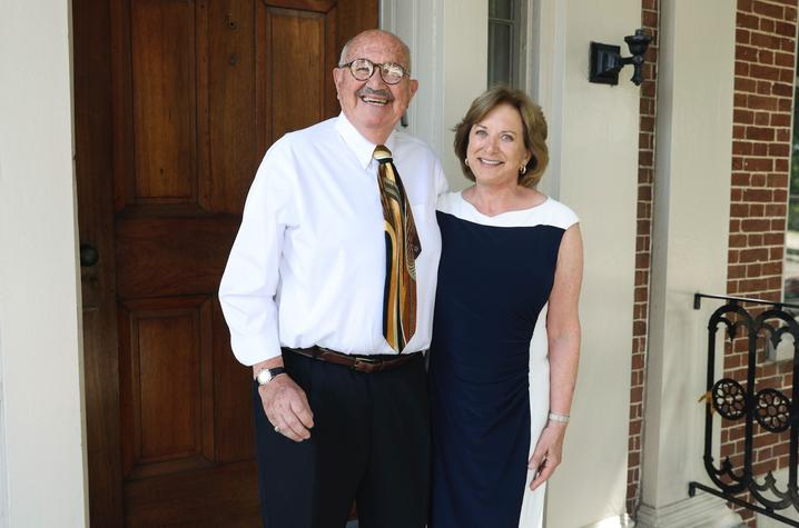 photo of Ben C. Kaufmann and Janet Zusman outside their front door