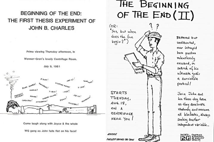 Cartoons drawn by John Charles illustrating his research