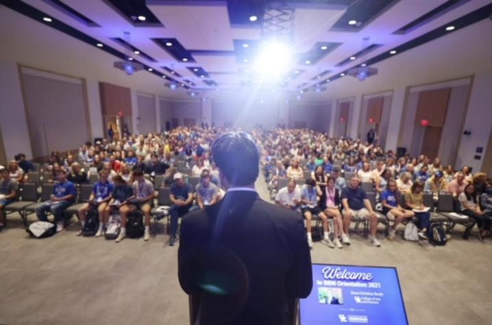 Students at orientation