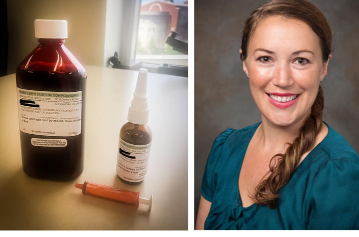The antiseptic nasal spray and gargle being used in the study (Left). Lead investigator Alexandra Kejner, MD (Right).