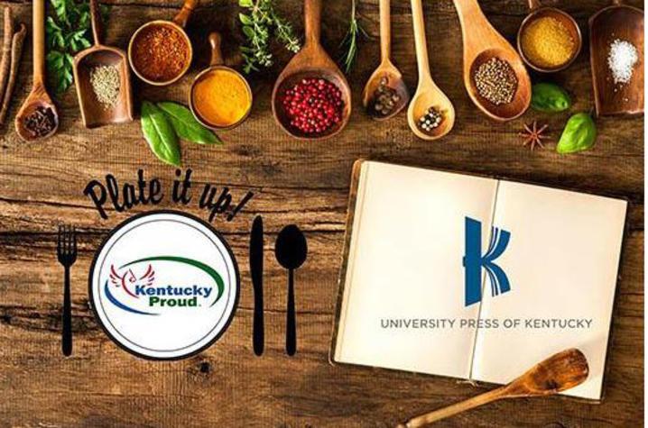 Graphic of Kentucky Proud Plate It Up! logo alongside University Press of Kentucky logo