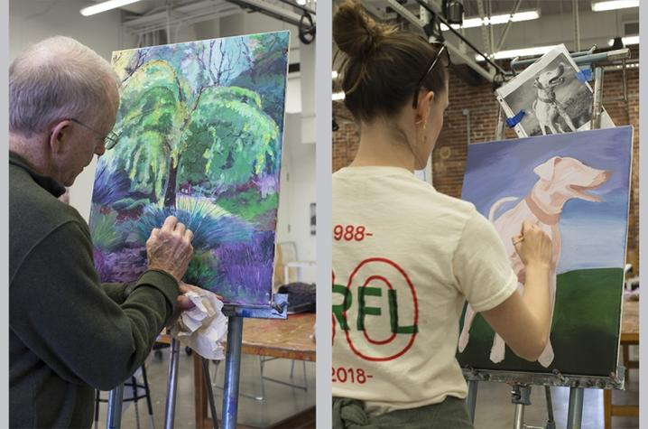 2 photos of individual students painting in Fine Arts Institute class
