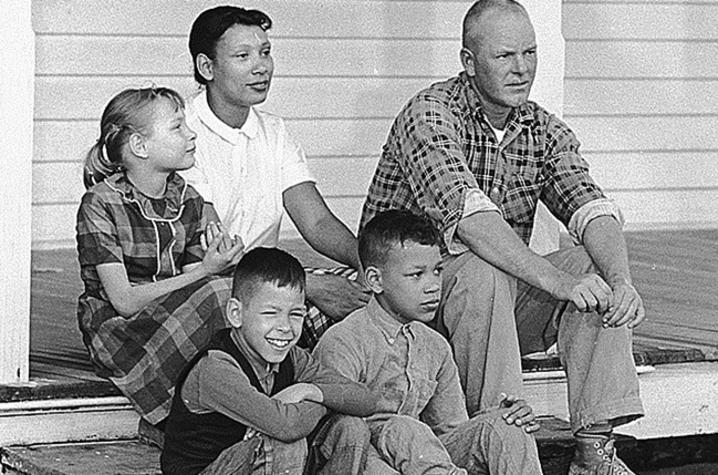 The historical film 'Loving' was based on the Loving family, pictured here on the front porch of their Virginia home