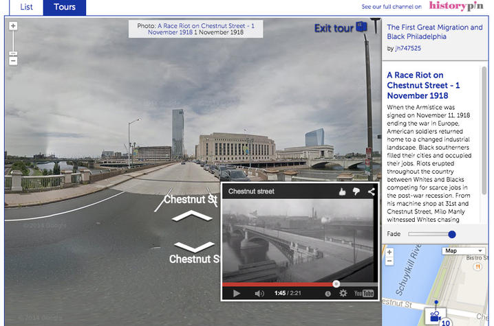 photo of mapping image of the Great Migration, integrating mini-documentaries with HistoryPin map interface
