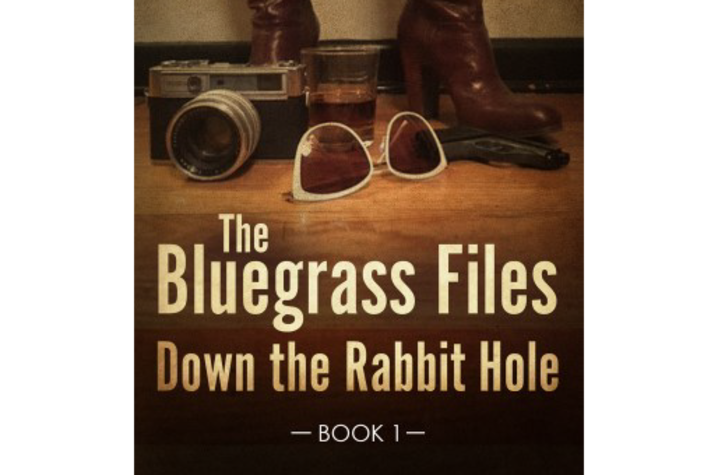 """Book cover for """"Down the Rabbit Hole"""" featuring heeled boots, a camera, pair of sunglasses and drink glass"""