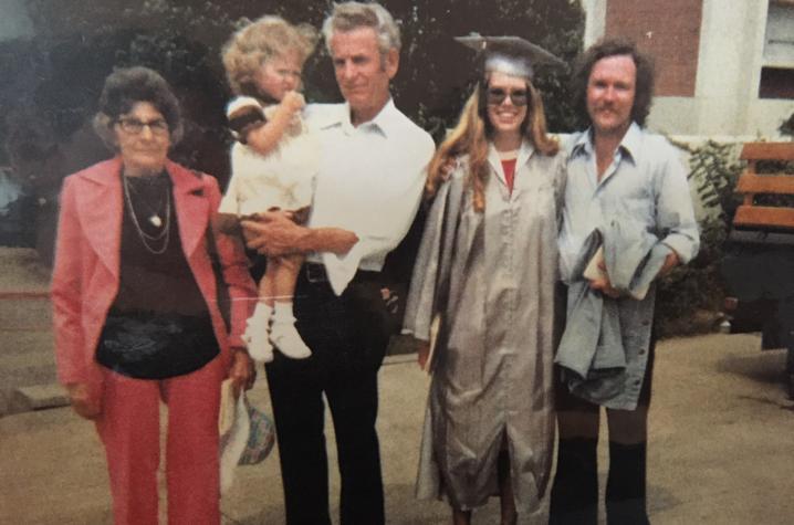 photo of Alethea Devary's mom graduating from EKU with grandmother, grandfather holding Devary