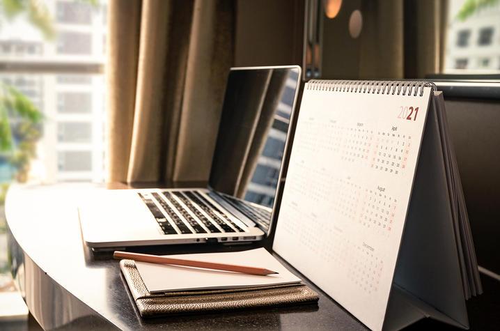 Computer and calendar.