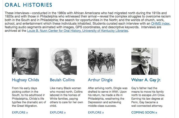 """photo of """"Goin' North"""" oral histories webpage"""