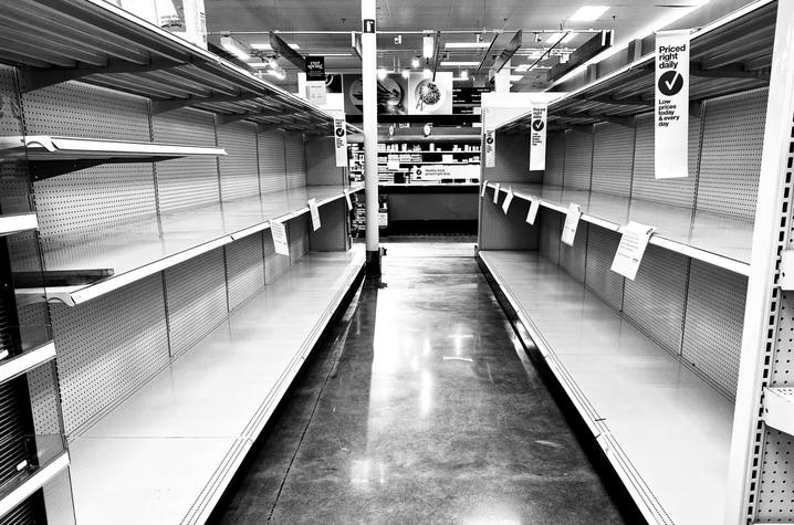 """black and white photo of empty store shelves from """"In This Together"""""""